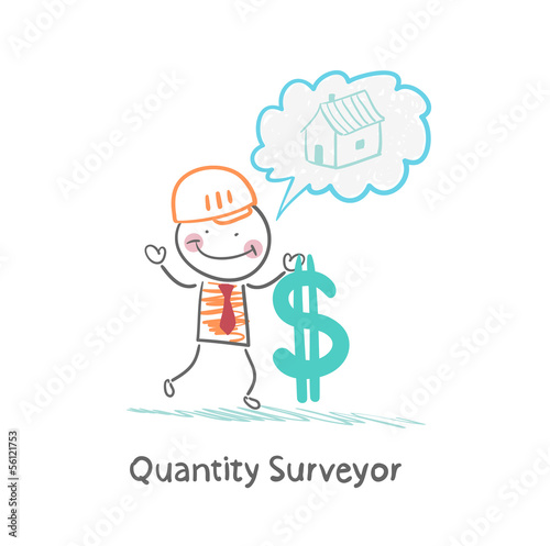 Quantity Surveyor holds dollar and thinking about home