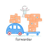 forwarder rides on a machine that carries boxes with the goods