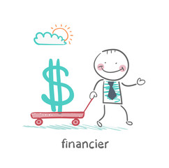 financier carries a wheelbarrow with a dollar sign