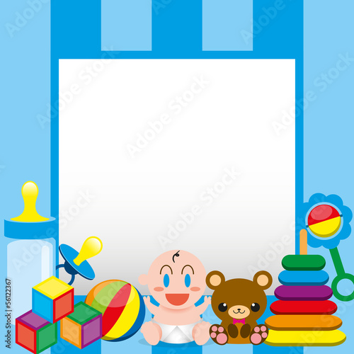 Vector Cartoon Cute Baby And Toys With,Board For Text
