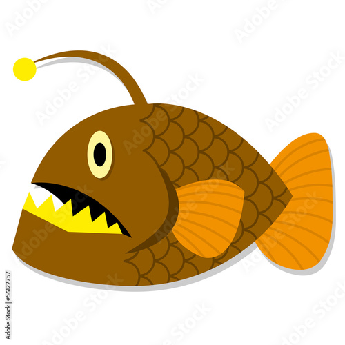 Vector Cute Cartoon Orange Deep Sea Fish Isolated Icon