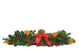 Holly and dried orange Christmas garland.
