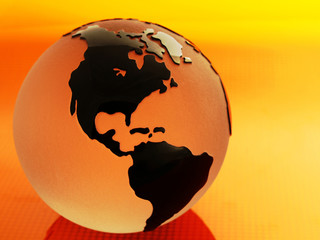 Glass Globes with orange lighting