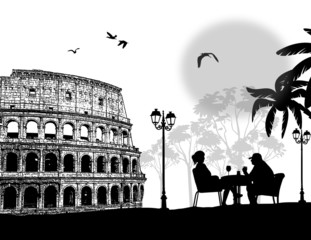 Couple silhouette in cafe  in front of Colosseum