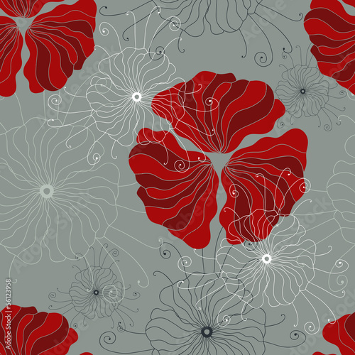 Tuinposter Abstract bloemen Seamless pattern with hand-drawn poppy