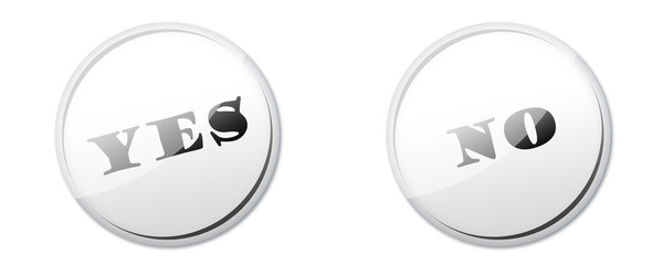 White YES or NO button