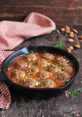 Moroccan meatballs with tomato sauce, spices