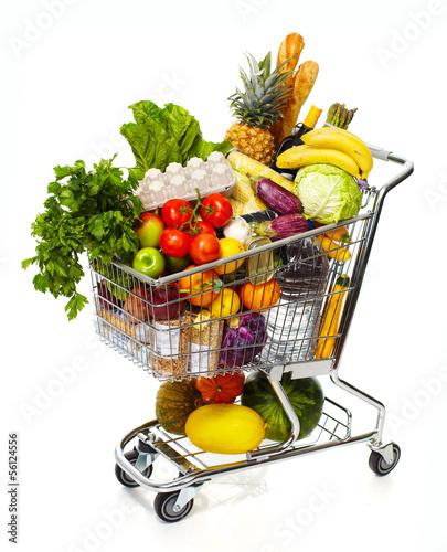 Tuinposter Boodschappen Full grocery cart.