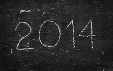 Chalk on black board: 2014