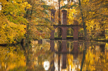 Golden Autumn Threes and Pond in Historic Park of Arkadia