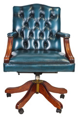 Office chair with buttoned leather isolated on white