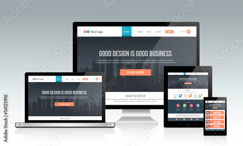 Responsive website template on multiple devices - 56125916