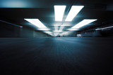 Dark parking garage industrial room interior. Zoom blur. - 56126165