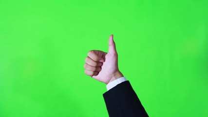 "Business hand make sign of ""OK"" or ""Good"" in green screen"