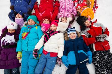 many kids in snow
