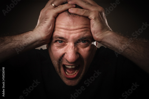 Screaming man in fear