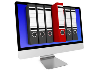 Computer mit Akten