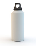 white camping style portable drinks bottle on white background
