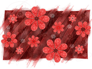 Red Flower Pattern Graphic Element