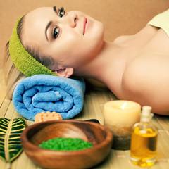 Beautiful young woman at a spa salon. Perfect Skin. Skincare