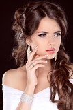 Beauty Bride. Beautiful Brunette Woman. Hairstyle. Makeup. Manic