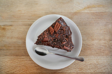 view of a slice of chocolate cake from above