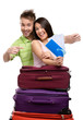 Couple with suitcases and tickets, isolated