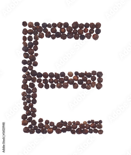 letter E made of pepper