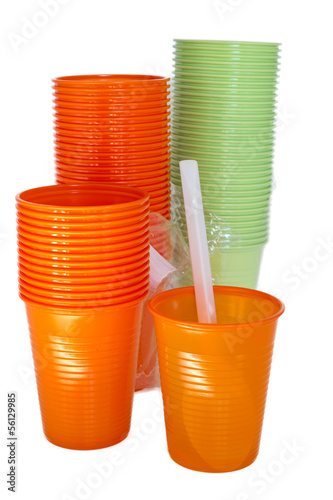 bright plastic glasses isolated on white