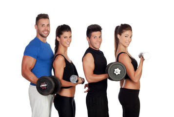 Group of friends with dumbbells