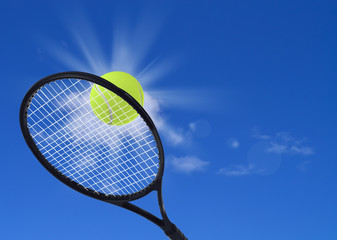 Tennis ball and racket in action