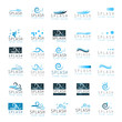 Collection of water design elements isolated on white