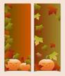 Halloween - Banner mit Ahornlaub und Kürbis
