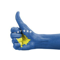 Hand with thumb up, Kosovo flag painted