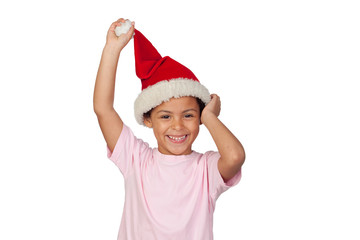 Portrait Of A Girl Wearing Santa Hat