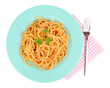Italian spaghetti in plate isolated on white