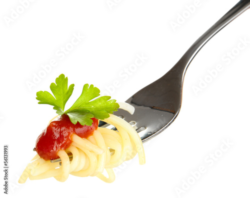 Delicious spaghetti on fork close-up on white background