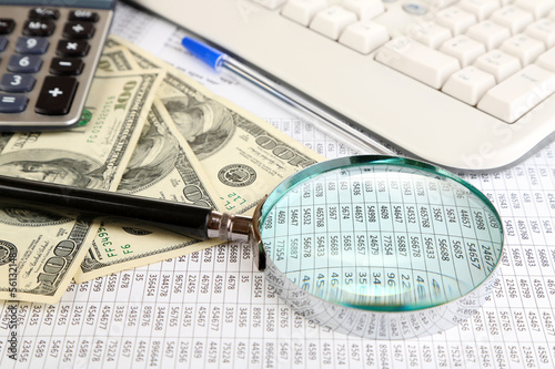 Financial information and money close-up