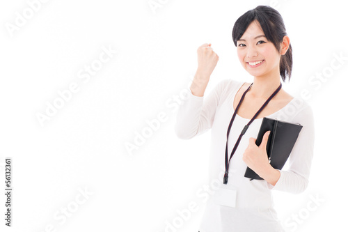 young asian businesswoman cheering