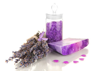 Hand made soap with lavender and sea salt isolated on white