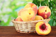 Ripe sweet peaches in wicker basket, on bright background