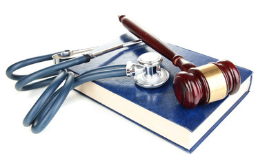 Medicine law concept. Gavel and stethoscope