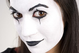 Beautiful Brunette Woman Theatrical Mime Dance White Face