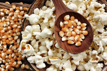 Popcorn and corn grain