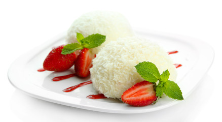 Delicious coconut cakes isolated on white
