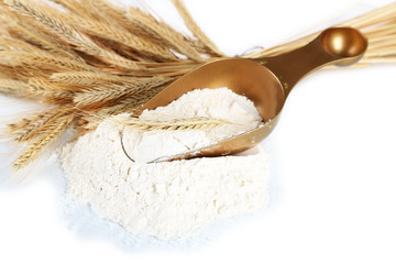 The wholemeal flour in scoop isolated on white