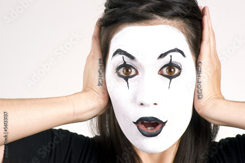 Beautiful Brunette Woman Theatrical Performance Mime Dance White
