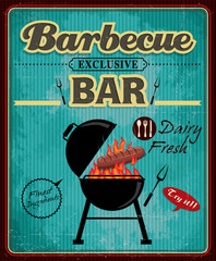 Vintage barbecue bar poster design