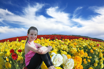 The smiling girl  in the kibbutz field
