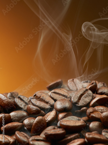 coffee beans with smoke